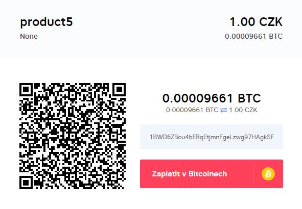 Placení bitcoiny