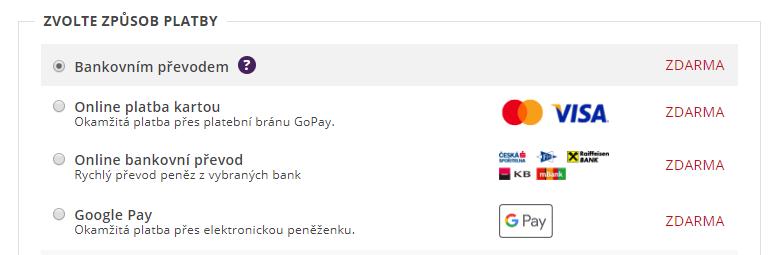 gopay výběr platební metody v e-shopu